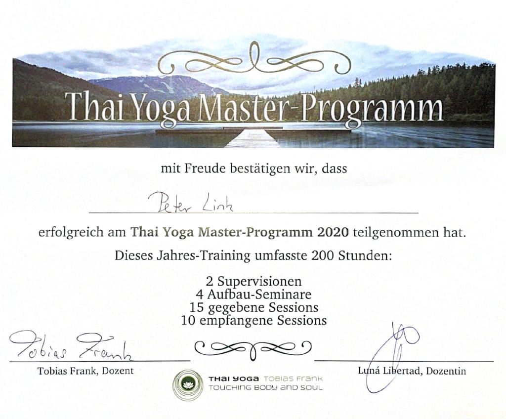 Peter Link, Thai Yoga Master nach Tobias Frank, Zertifikat