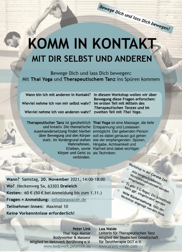 "Flyer Workshop ""Komm in Kontakt"""